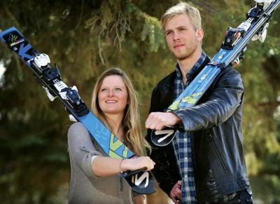 Rocky Mountain College ski racers Eloise Julliand and Nils Hoegb