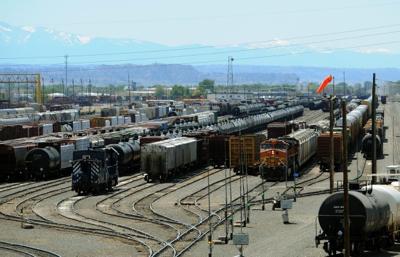 Trains fill the rail yard in Laurel