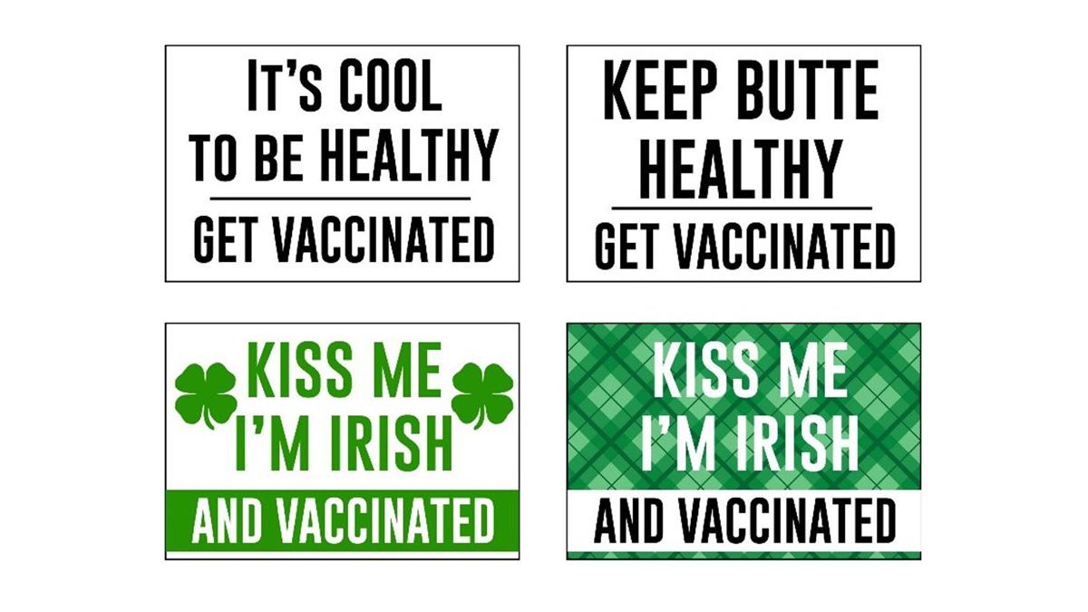 Vaccine campaign signs and stickers