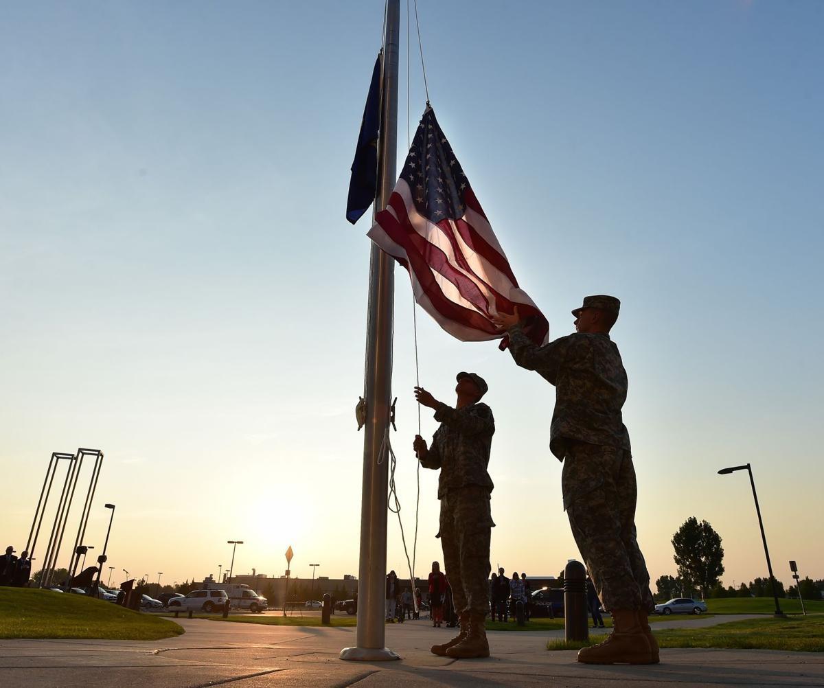 Memorial flag raising