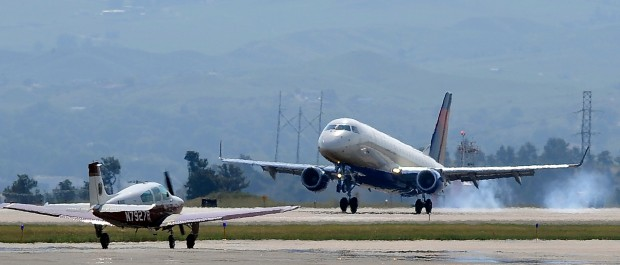 A regional jet lands