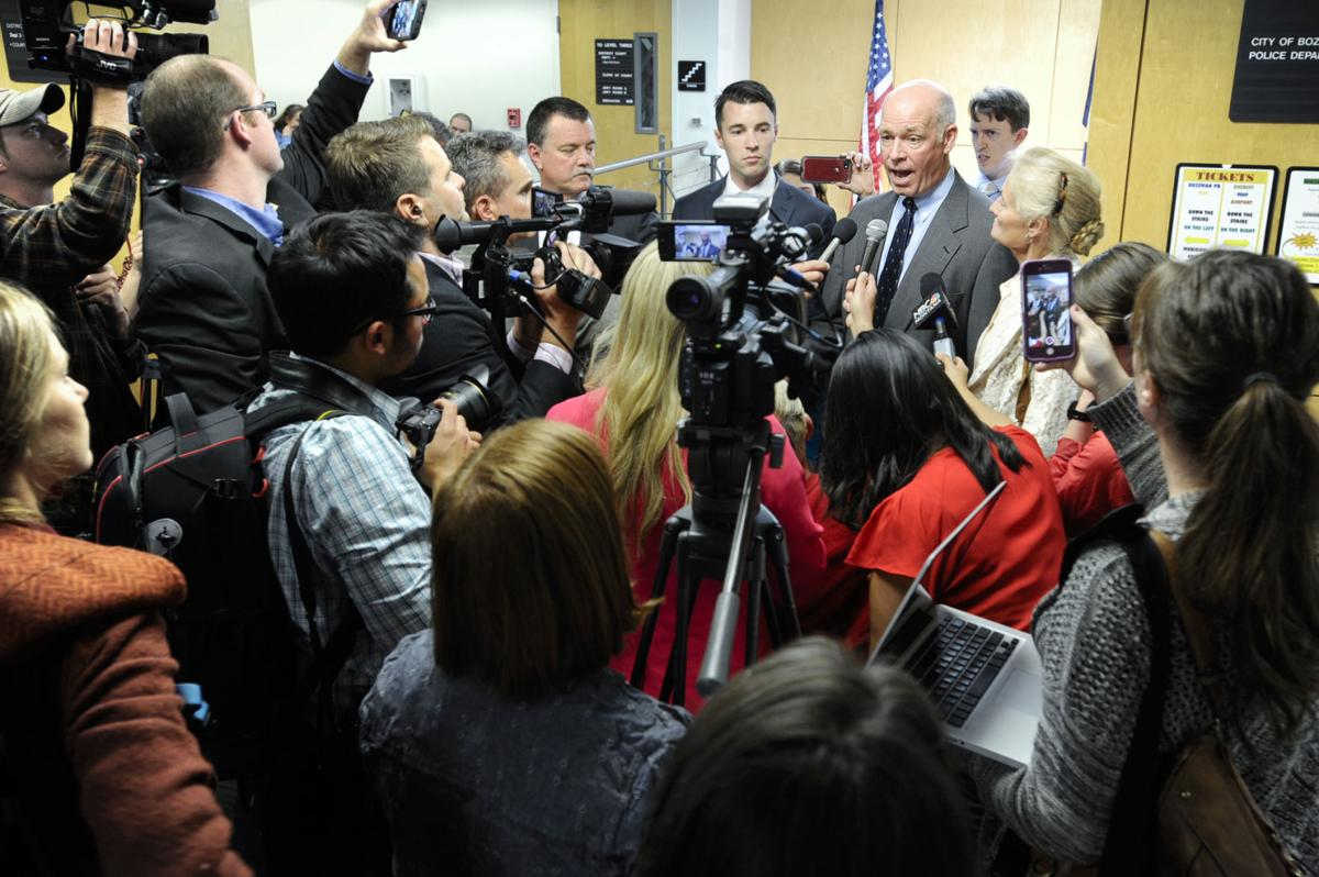Republican congressman-elect Greg Gianforte speaks to members of the press Monday morning