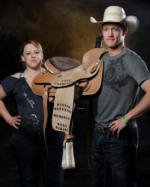 Jason Bold and Darrylln Guffey show a saddle
