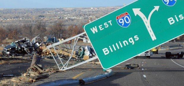 Truck rollover closes I-90 lanes east of Billings | Local ...