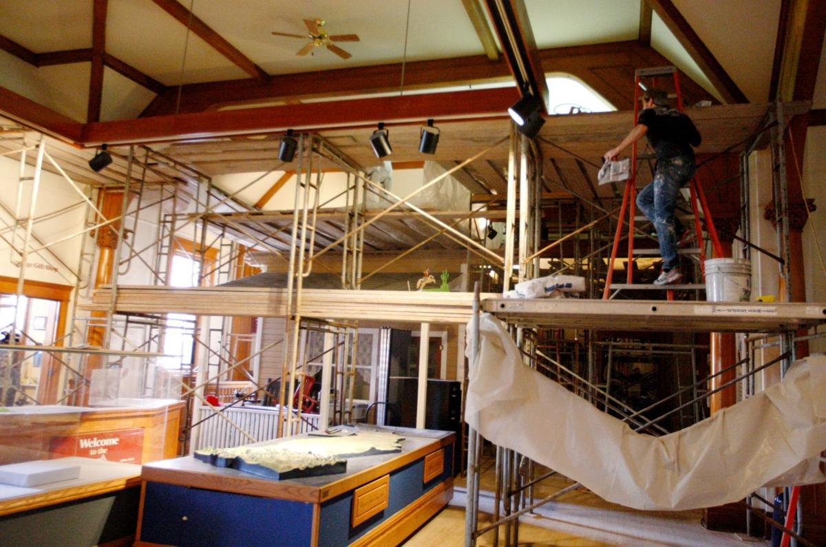 Scaffolding fills the Western Heritage Center