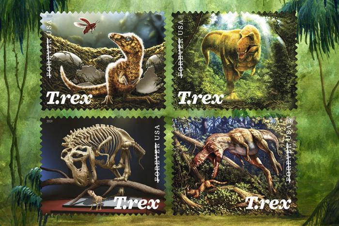 US Postal Service issue stamps of T. rex found in Montana