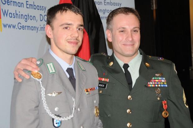 German Cpl. Tim Focken and U.S. Army Staff Sgt. Peter Woken