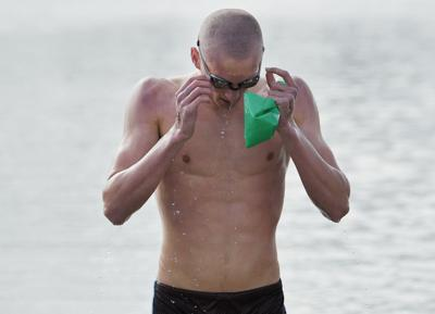 Swimmers compete in the Big Sky State Games open-water swim races at Lake Elmo