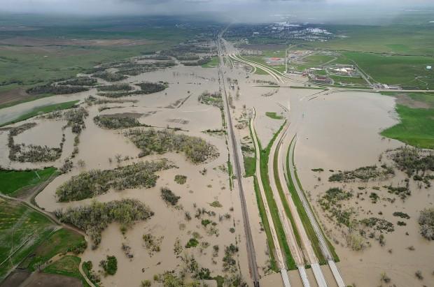 I-90 flooding near Crow Agency