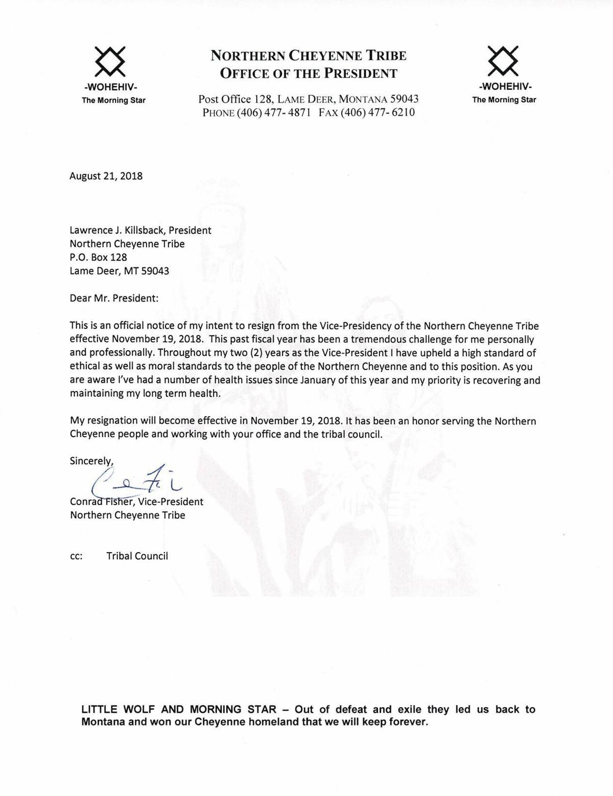 Conrad Fisher Resignation Letter Dated Aug 21 Billingsgazette