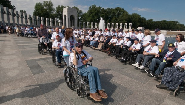 Honor Flight veterans at WWII Memorial