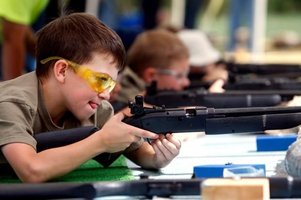 Gavin Hunt practices target shooting