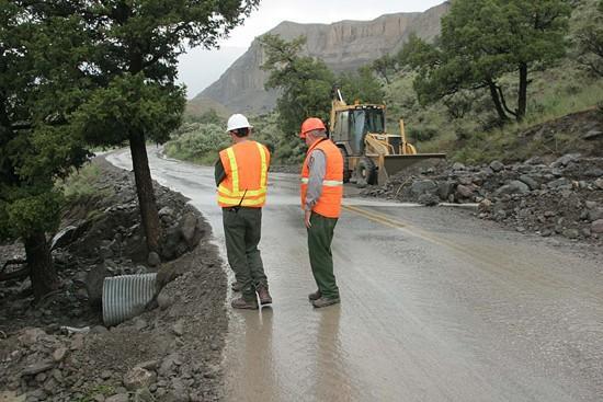 Yellowstone power, road take hit