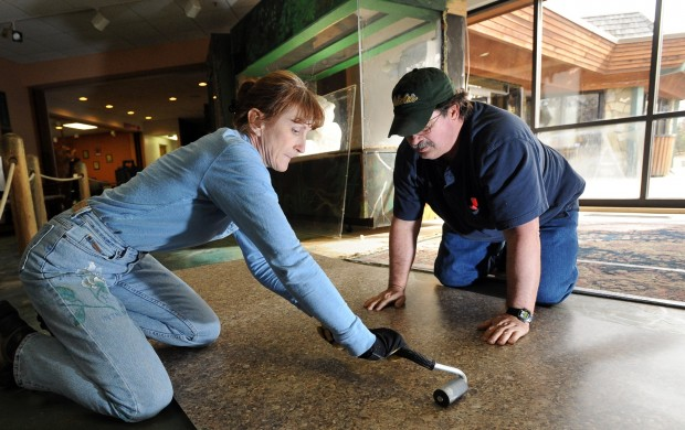 Dick Scott and Melanie Richard work on the zoo's 'Living Wall'