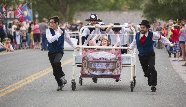 Virginia City players race a mattress