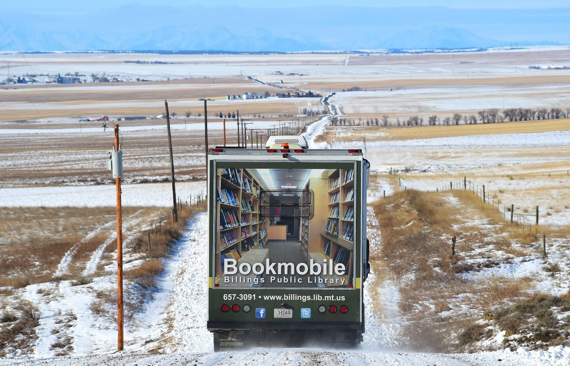 Bookmobile on the road