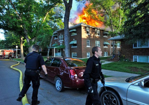 Okerman Apartments burn Monday morning