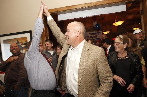 "Carl ""Bunky"" Loucks celebrates with Natrona County Republican chairman Shea Ward"