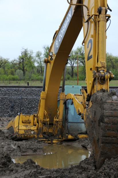 Crane stuck in the mud at Crow Agency Area