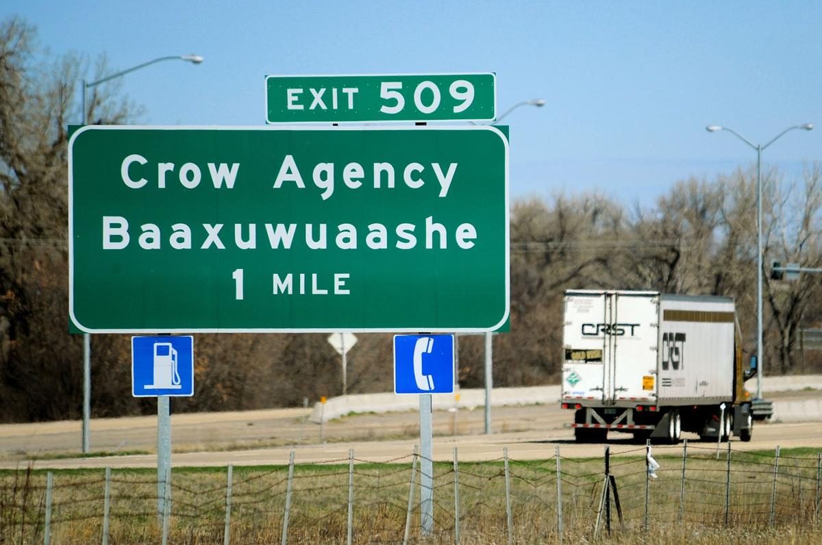 Exit 509 sign at Crow Agency