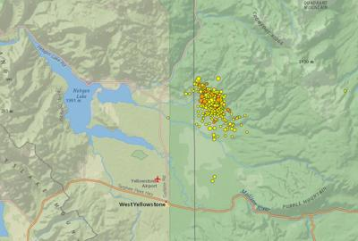 Map shows earthquake swarms in Yellowstone National Park