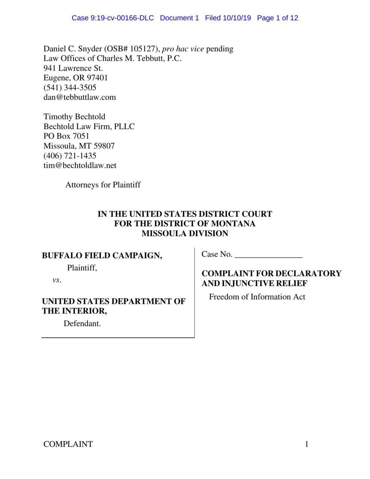 BFC lawsuit against Yellowstone