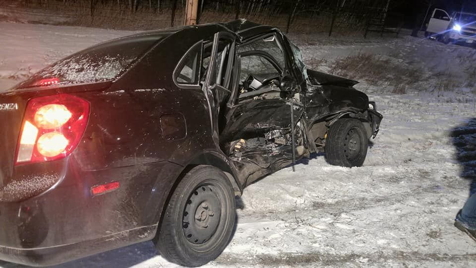 A car after it was hit near Shepherd