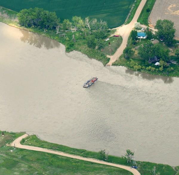 Ferry crosses remote Missouri River