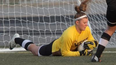 West's Abbie Donaldson makes a save