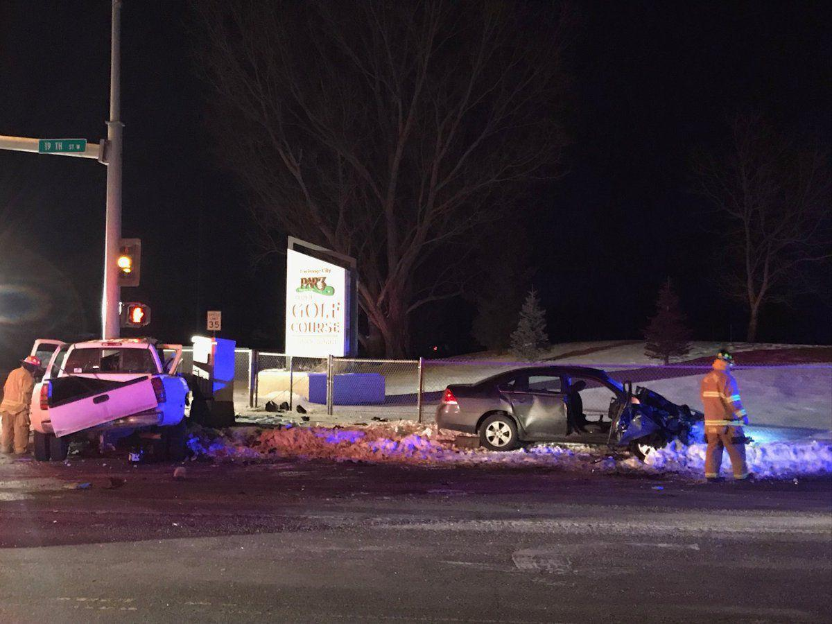 Two vehicles collided Tuesday night at the intersection of Central Avenue and 19th Street West