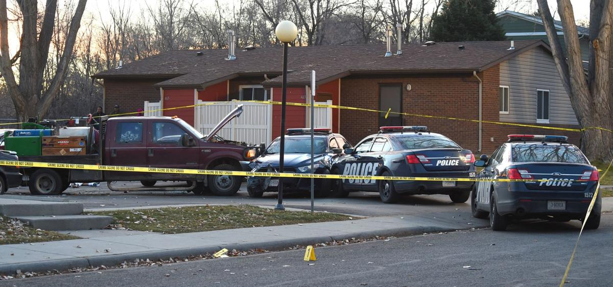 Shooting scene crashed cars