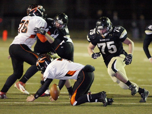 Nathan Bradley of Billings West pursues a fumble