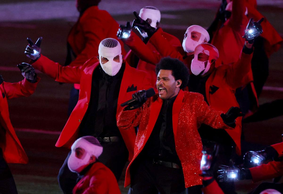 The Weeknd performs during the Pepsi Super Bowl LV Halftime Show at Raymond James Stadium on Sunday, February 7, 2021 in Tampa, Florida.