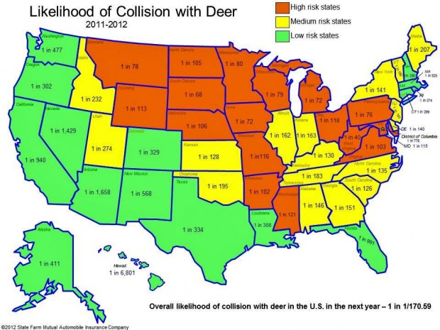 Montana In Top For Deervehicle Collisions Montana News - Map of us elk population