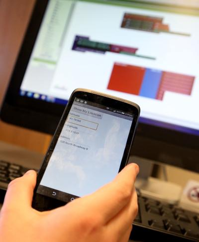 A student works on an app