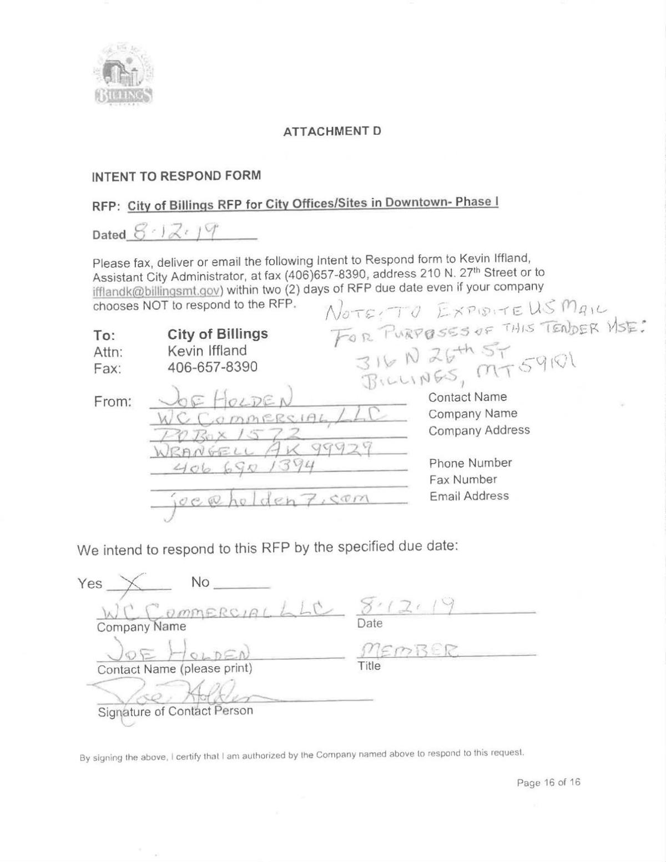Wc Commercial Billings City Hall Bid Billingsgazette Com