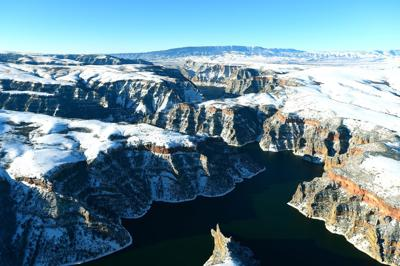 Snow from above at the Bighorn Canyon