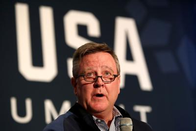USOC CEO Scott Blackmun addresses the media during the Team USA Media Summit ahead of the PyeongChang 2018 Olympic Winter Games on September 25, 2017, in Park City, Utah. (Maxx Wolfson/Getty Images/TNS) **FOR USE WITH THIS STORY ONLY**