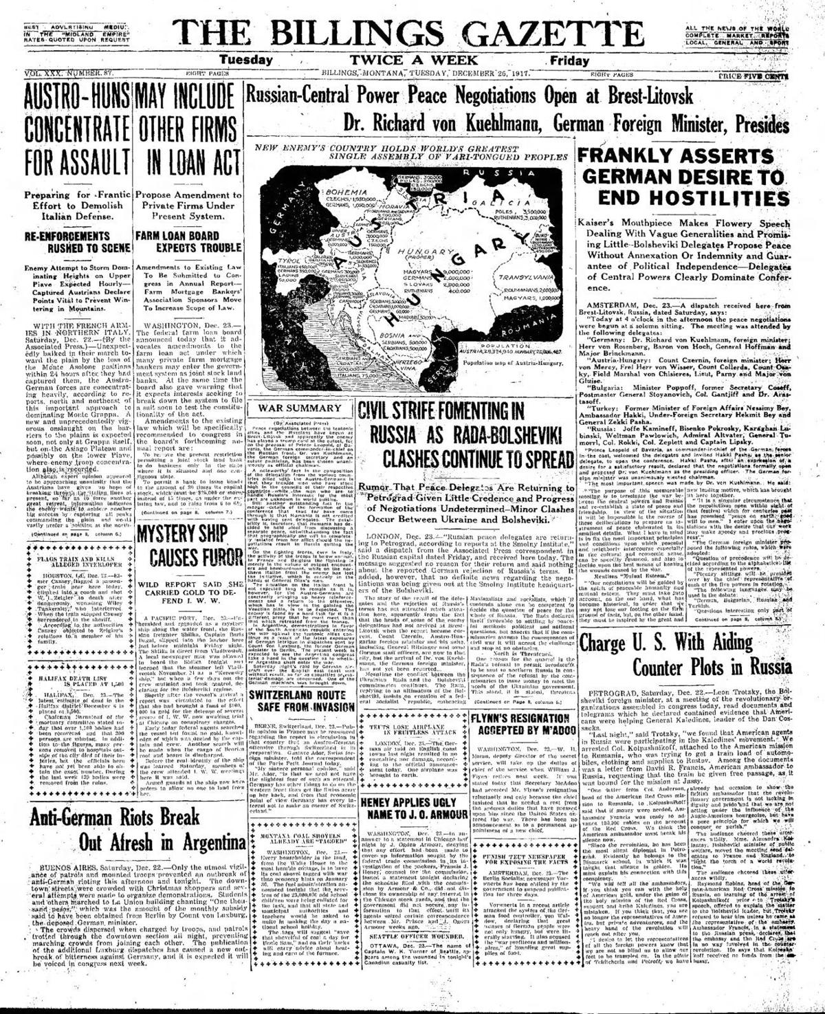The front page of The Billings Gazette Dec. 25, 1917