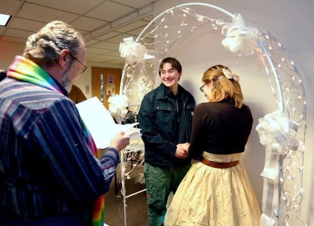 Couple is first to wed