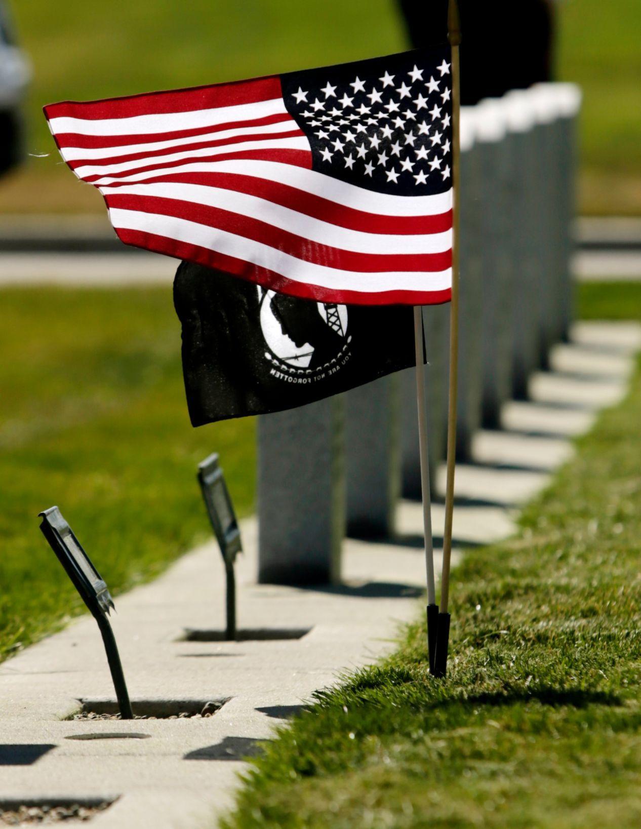 A U.S. and a POW/MIA flag