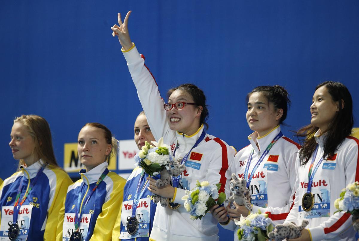 Fu Yuanhui and teammates at the Swimming World Championships
