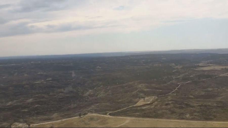Aerial views of Lodgepole Complex fire devastation