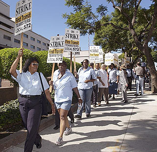 California transit, grocery strikes still on