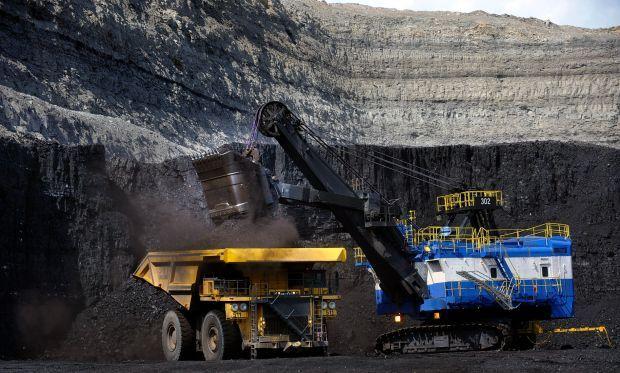 One of two massive P&H 2300 shovels at the Spring Creek Mine