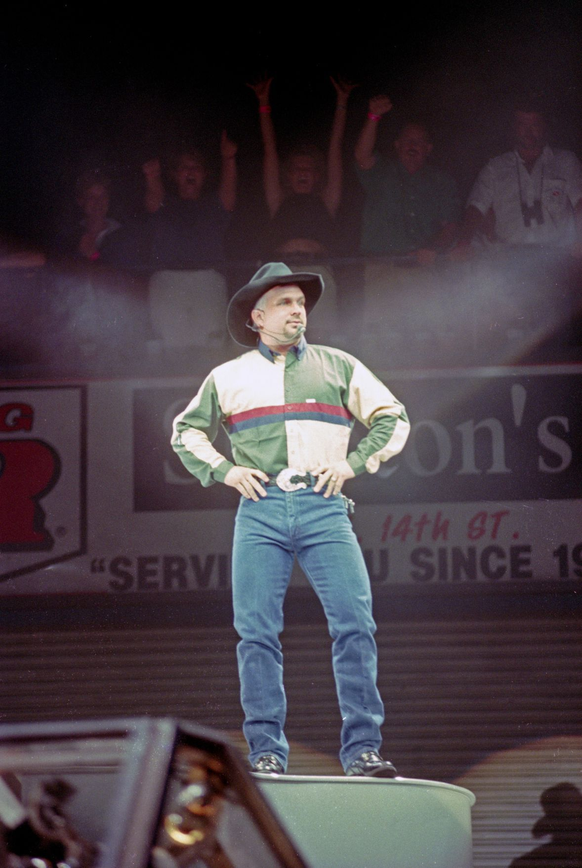 Garth Brooks performs in front of a sold-out audience at the Billings Metra, July 2, 1998