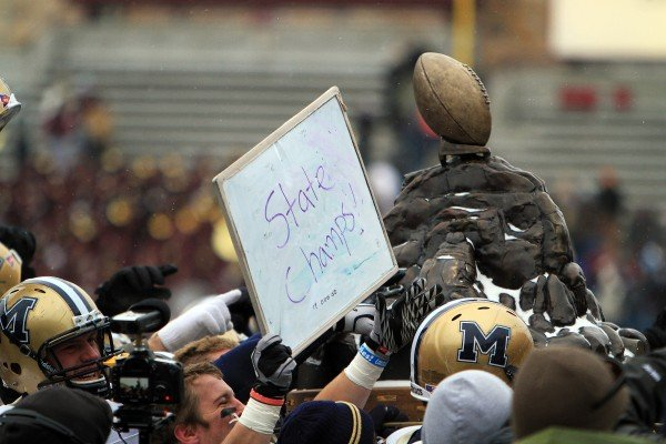 Montana State players show off the Great Divide Trophy