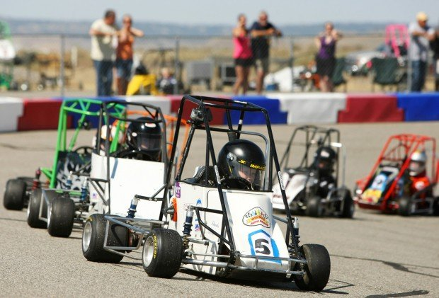 Riley Wolfe of Great Falls and a pack of quarter midget racers fall in line