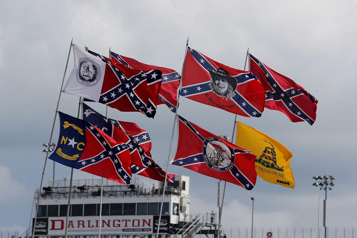 Confederate flags are seen flying over the infield campground prior to the NASCAR Sprint Cup Series Bojangles' Southern 500 at Darlington Raceway on Sept. 6, 2015 in Darlington, S.C.