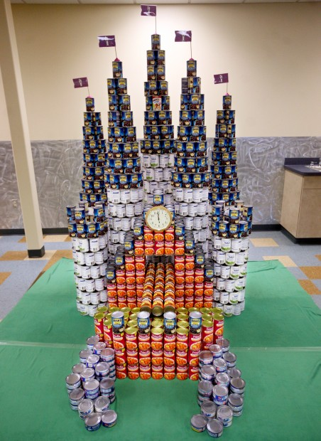 A finished castle sculpture at Canstruction